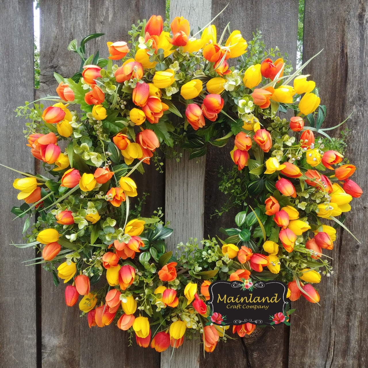 Spring Summer Mother's Day All Year Round Yellow Red Orange Tulip Wreath