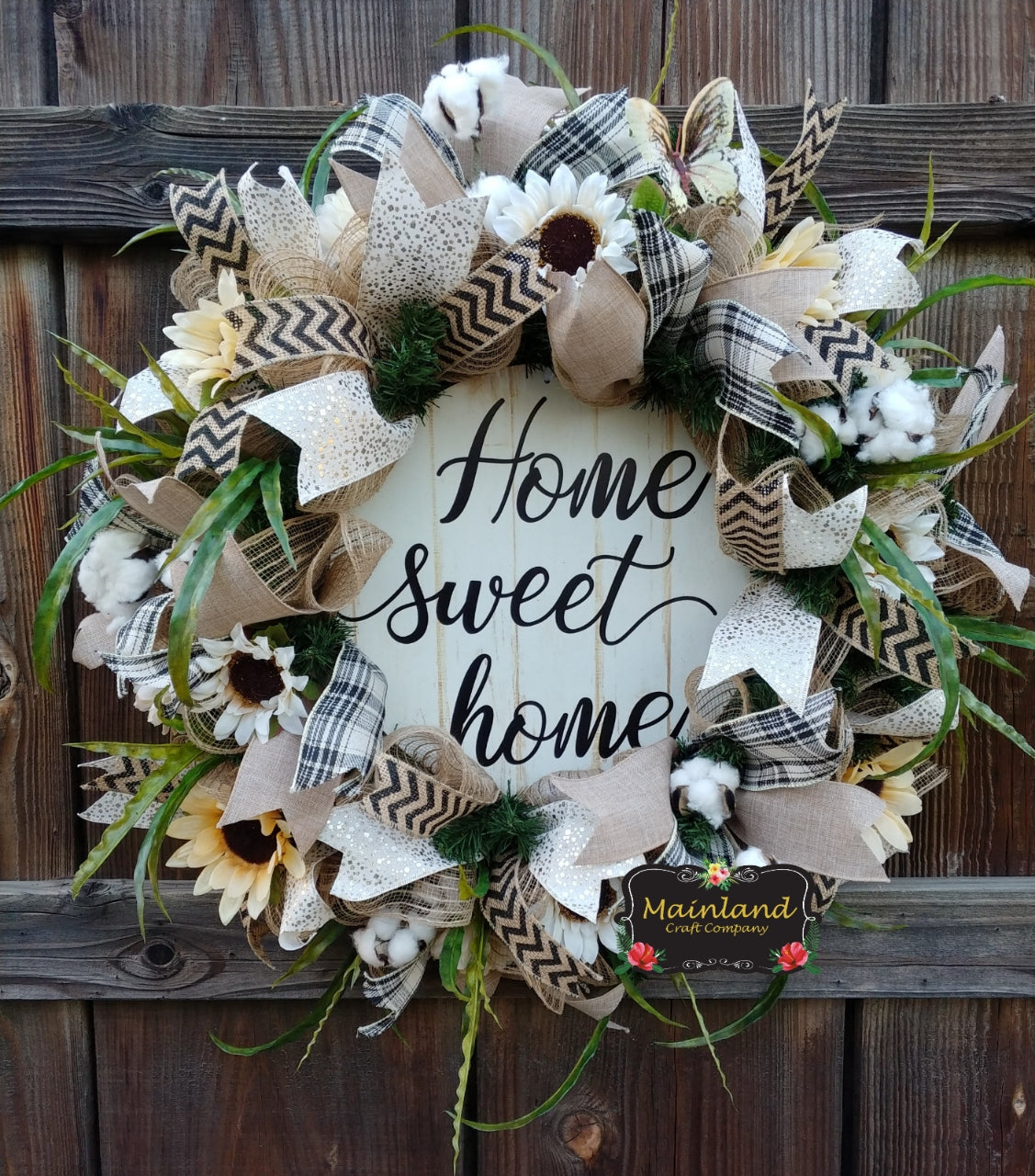Spring Summer All Year Round Rustic Burlap Farmhouse Wreath Home Sweet Home Neutral Door Decor