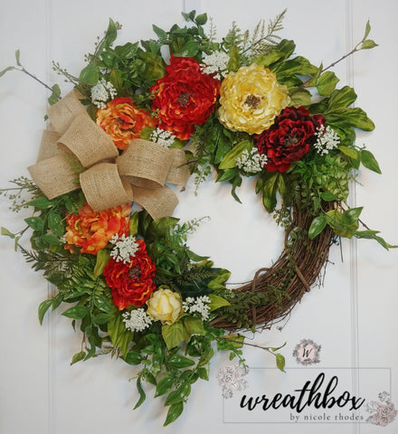 Fall Harvest Floral Rustic Wreath Orange Red Cream Peony Wreath All Year Round Front Door Decor