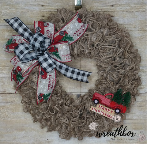 Christmas Wreath, Merry Christmas Wreath, Christmas Decor, Rustic Burlap Wreath, Winter Wreath