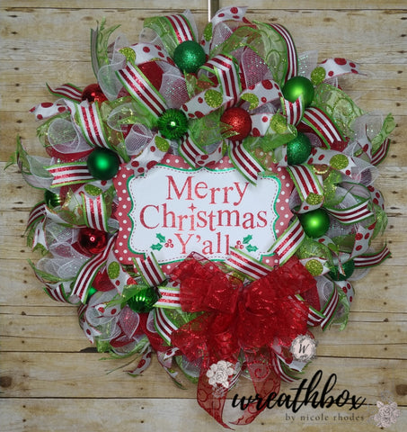 Christmas Wreath, Merry Christmas Wreath, Christmas Decor, Winter Wreath, Polka Dot Wreath
