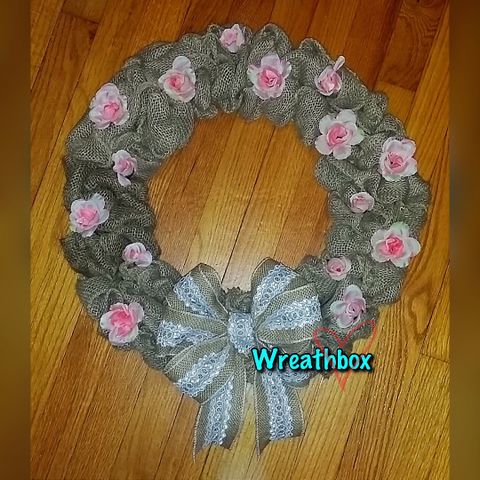 Rustic Spring Burlap Everyday Wreath Shabby Chic Pink Roses Mother's Day Wreath