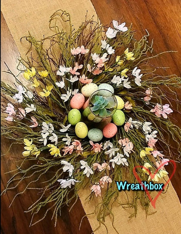 Spring Easter Grapevine Centerpiece Rustic Grapevine Centerpiece with Easter Eggs