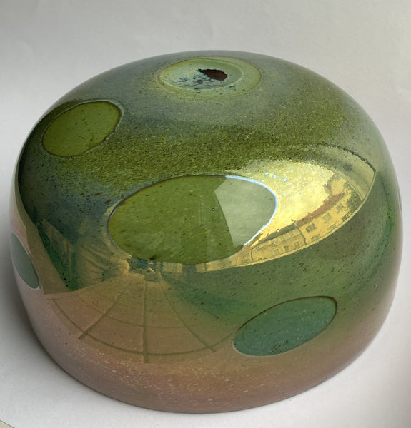 Oiva Toikka - Decorative Green Bowl with some copper lustre