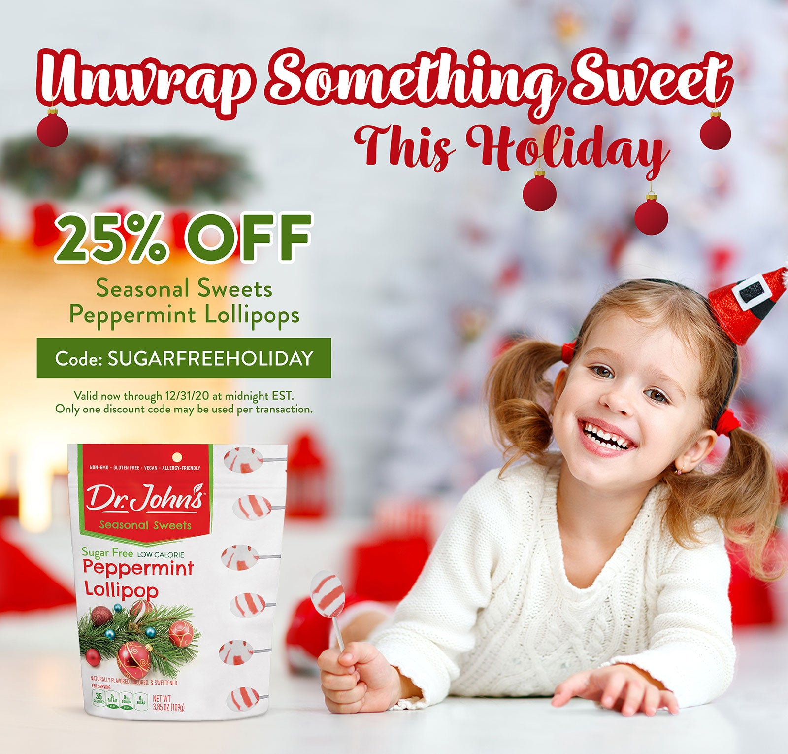 Take 25% Off Our Seasonal Sweets Peppermint Lollipops All December Long! Code: SUGARFREEHOLIDAY