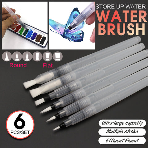 Bianyo 6Pcs Different Shape Large Capacity Barrel Water Paint Brush Set For Self Moistening Pen Calligraphy Drawing Art Supplies - ArtNation