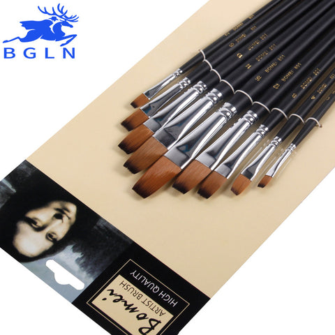 Bgln 9pcs/set Nylon Oil Paint Brush Flat Painting Brush For Oil , Acrylic Brush Pen pincel para pintura Art Supplies 801 - ArtNation