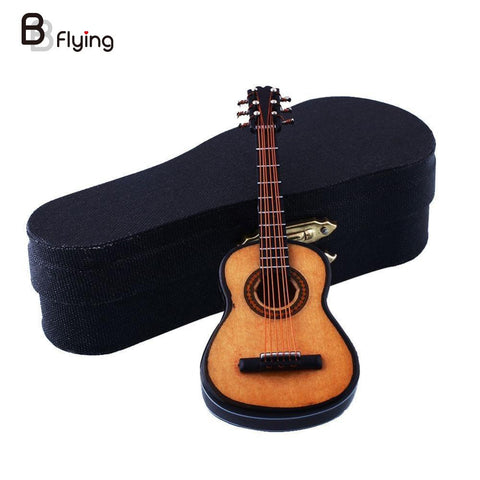 Mini Miniature Wooden Wood Acoustic Guitar Musical Instrument Home  Collection With Case Stand - ArtNation