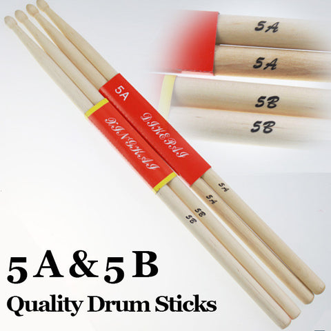 2Pairs 5A & 5B Wood Drum Sticks Music Band Rock Drumsticks Baqueta Percussion Vara Do Cilindro Trommelstock Musical Instrument