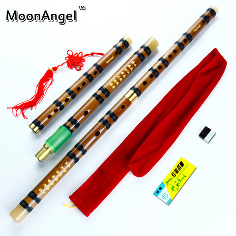 MoonAngel CDEFG 5 Keys Chinese Knot Dimo velvet bag Black Line Chinese Traditional Musical Instrument bamboo flute - ArtNation