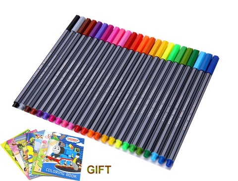 24 Colors 0.4mm Fineliner Pens with coloring book Marco Super Fine Draw Color Pen Art Marker Pen Water Based Ink