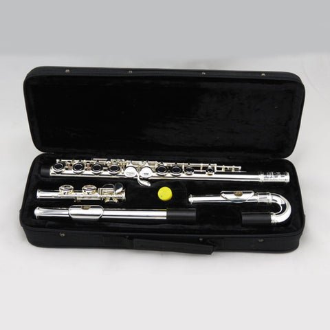 16 Holes Flute Silver Plated Bending Flauta C key Musical Instrument Woodwind 2Mouthpiece straight and Bent Kids Adult Child