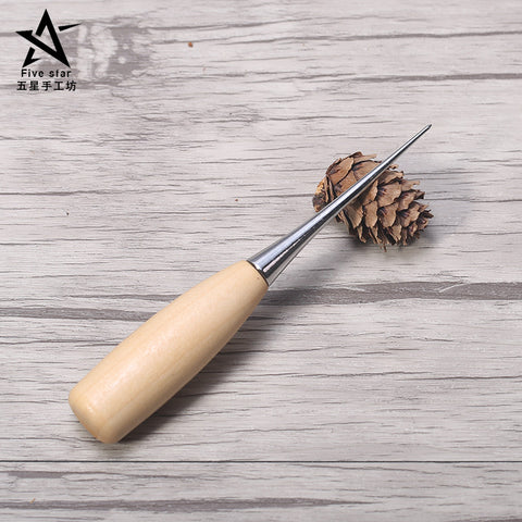 DIY Leather Punch Tools Leather Awl with Wood Handle and Carved Wooden Handle Needle Punching Hole for Leather - ArtNation