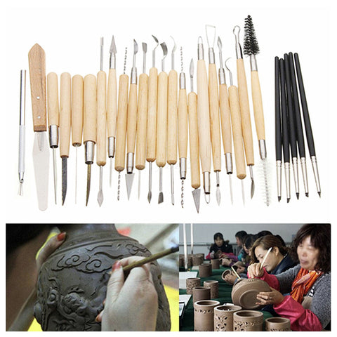 27pcs Top Quality Silicone Rubber Shaper Pottery Clay Sculpture Carving Fimo Modeling Tool Set