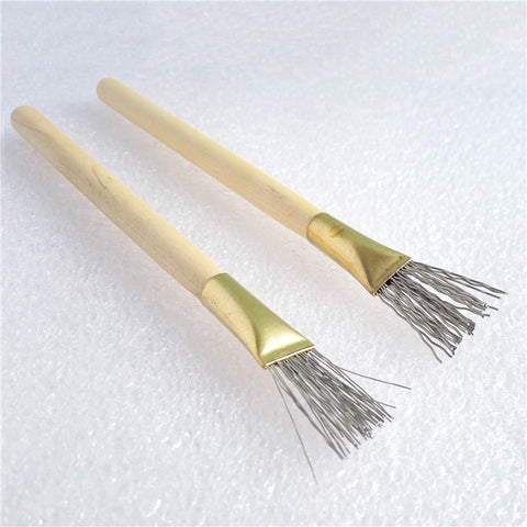2Pcs Wooden Handle Thick/Thin Iron Wire Brush Clay Tool for Making Clay Doll Hair Model Hair Indentation Pen Art Supplies - ArtNation