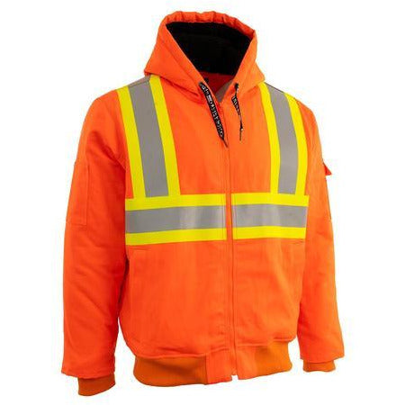 Forcefield Hi Vis Canvas Safety Work Jacket with Sherpa Liner