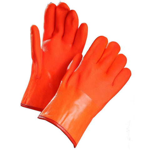 "Chemical Resistant Gloves, Orange PVC Coated, 12"" Gauntlet Cuff"