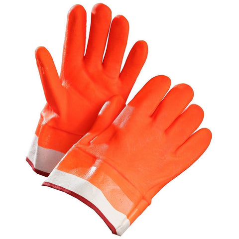 Chemical Resistant Gloves, Orange PVC Coated, Fleece Lined, Safety Cuff - 1 Doz.