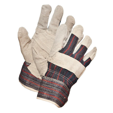 Economy Grade Split Leather Patch Palm Work Gloves