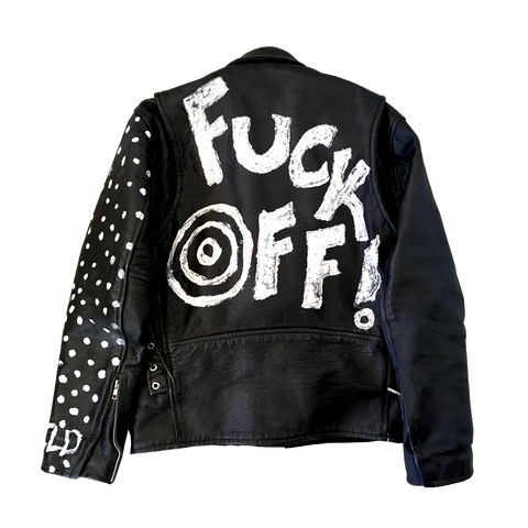 Fuck Off Leather Jacket, Black