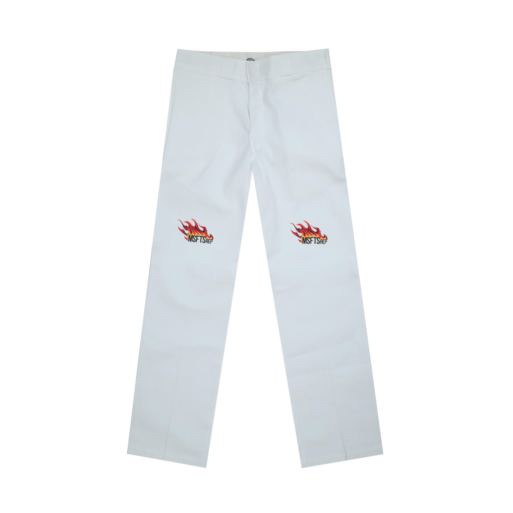 Flame Logo Dickies Pant, White