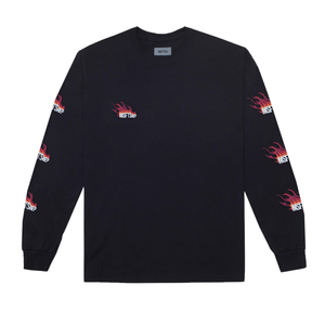Flame Long Sleeve T-Shirt, Black