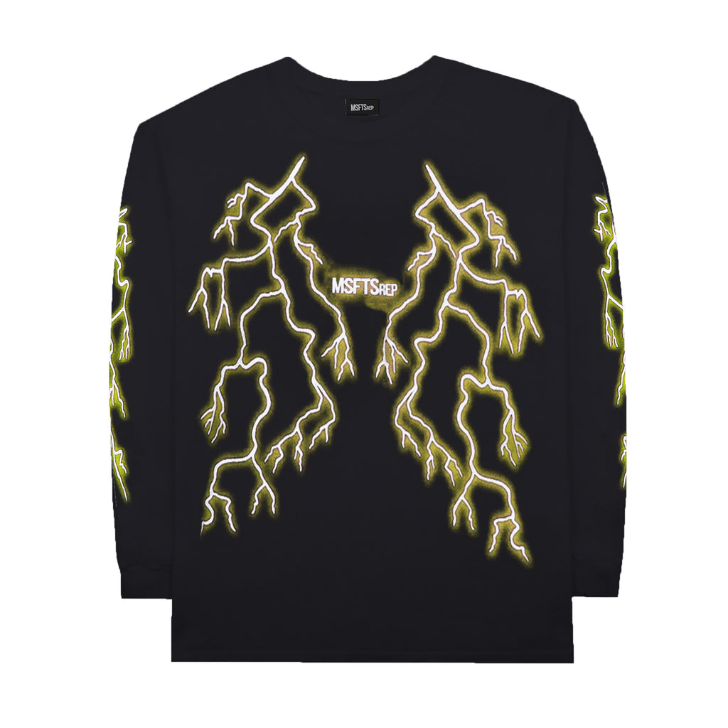 Lightning Long Sleeve T-Shirt, Black