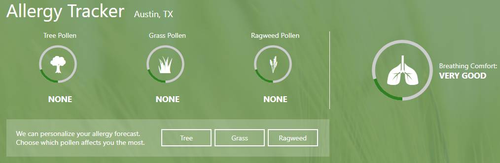 The Weather Channel Allergy Tracker screenshot