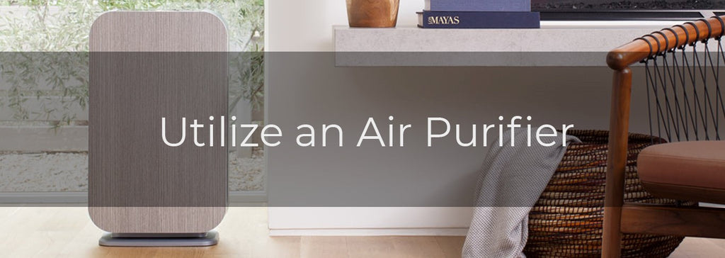 Alen air purifier with text Utilize an Air Purifier