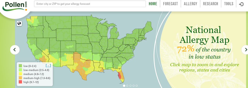pollen allergy map screenshot