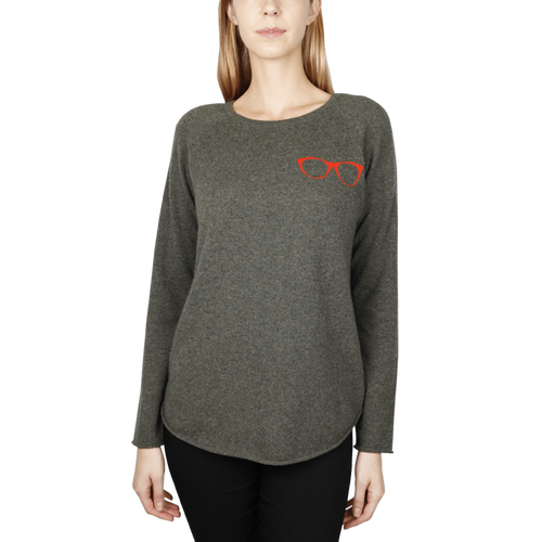 Glasses Intarsia Sweatshirt - Army/Orange