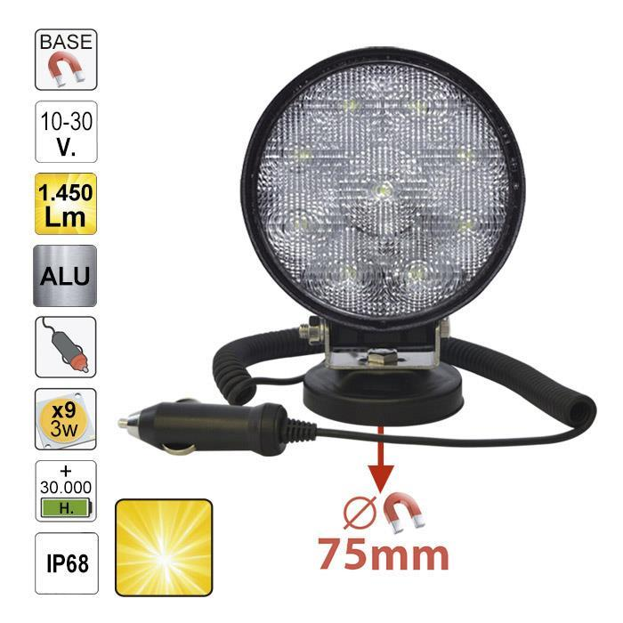 JBM-52567 Magnetic Work Lamp Round With Scattered Light 1450 Lumens