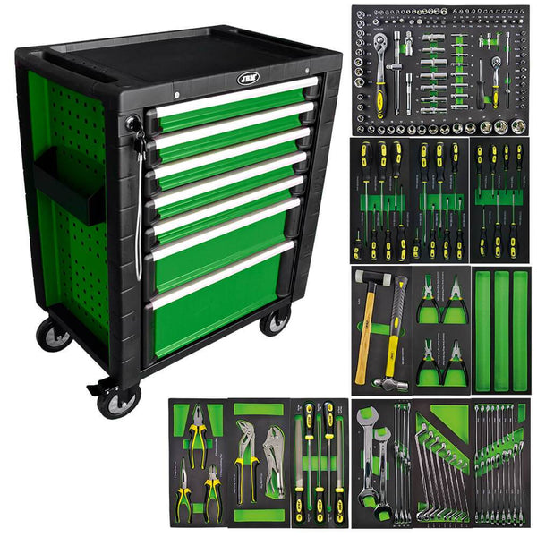Green Roller Cabinet With Tools In Foam Trays (D)470 x (L)700 x (H)970mm - Sweeney Motor Factors