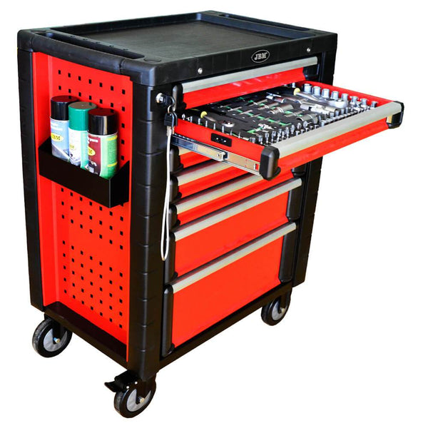 Red Roller Tool Cabinet With Tools In Foam Tray (D)470 x (L) 700 x (H) 970mm - Sweeney Motor Factors