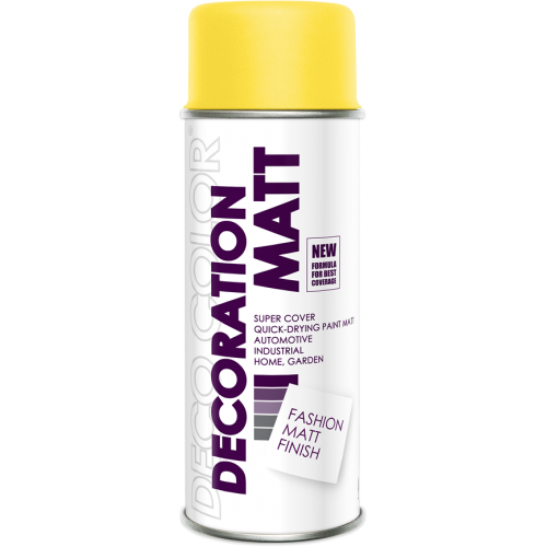 Decoration Matt Spray Paint Yellow 400ml - Deco Color Ireland