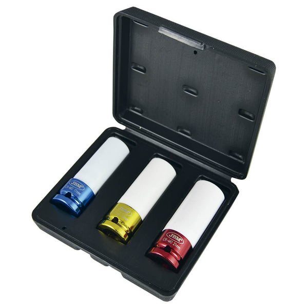 "3PC Alloy Wheel Rim Damage Protector Impact Socket Set 17, 19, 21mm 1/2"" Drive - Sweeney Motor Factors"