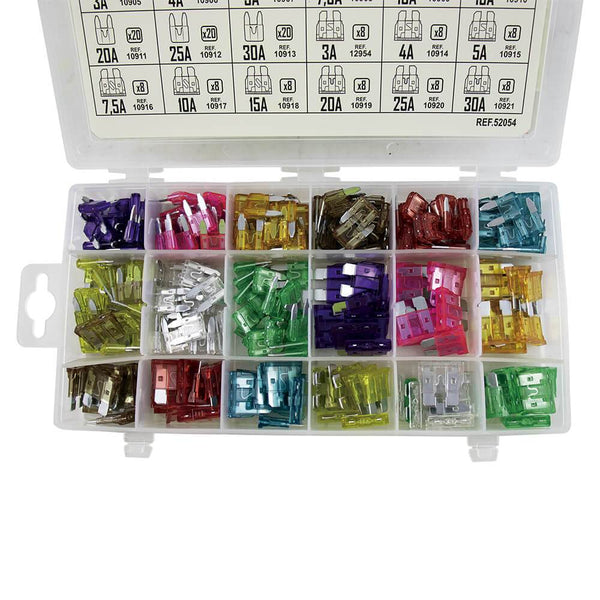 Car Blade Fuse Assortment Kit Set 252pc 3A - 30A Standard And Mini Fuses