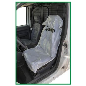 Strong 25mc  White Polythene  Disposable so can be thrown away after use  Sold on a roll for easy use  Designed to fit all car seats  Ideal for protecting seats during a service, MOT or valet - Sweeney Motor Factors