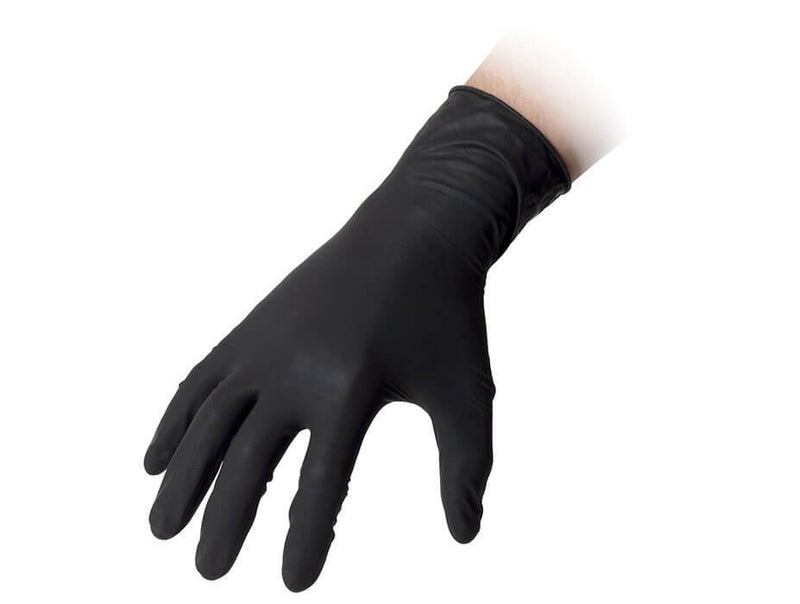 Black Latex Disposable Gloves Powder Free High Strength gr6.2 100pk - Sweeney Motor Factors