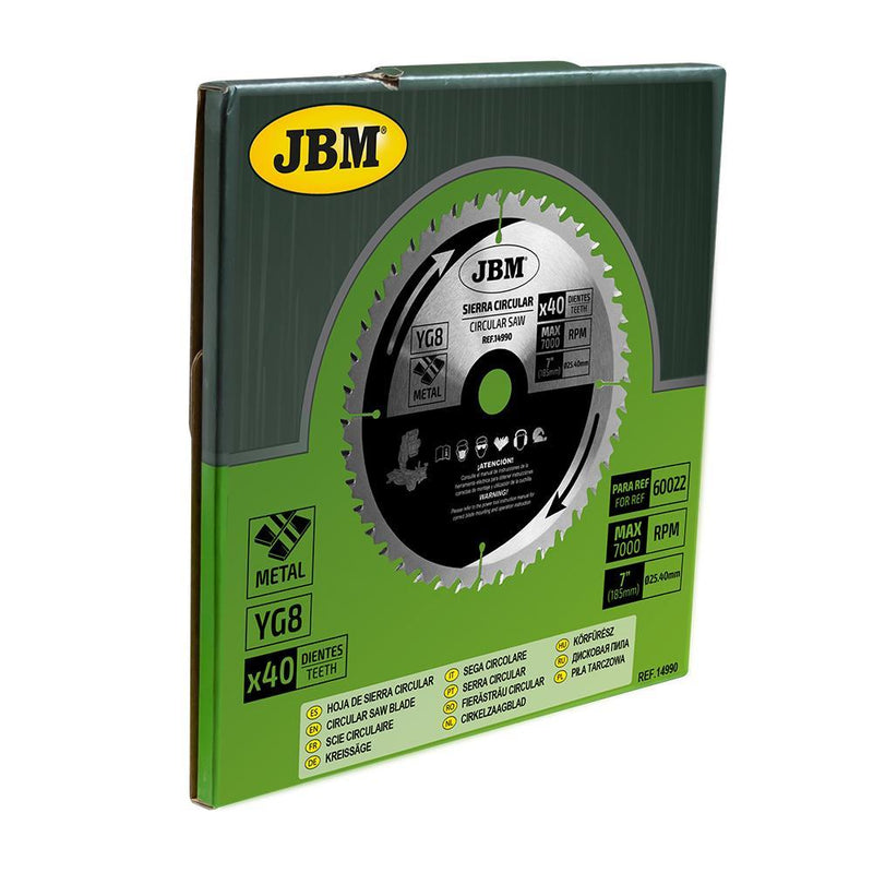 JBM-14990 Circular Saw Blade 40T 185mm for Metal for Ref. 60022 Addistional Image 1