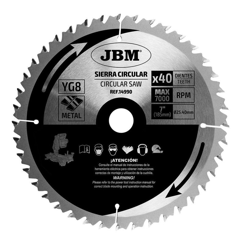 JBM-14990 Circular Saw Blade 40T 185mm for Metal for Ref. 60022
