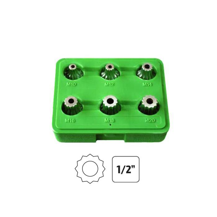 "JBM-51409 Set of 6 Pieces - 1/2"" Tamper-Proof 12-Point Xzn Bit Sockets Additional View 1-Sweeney Motor Factors"