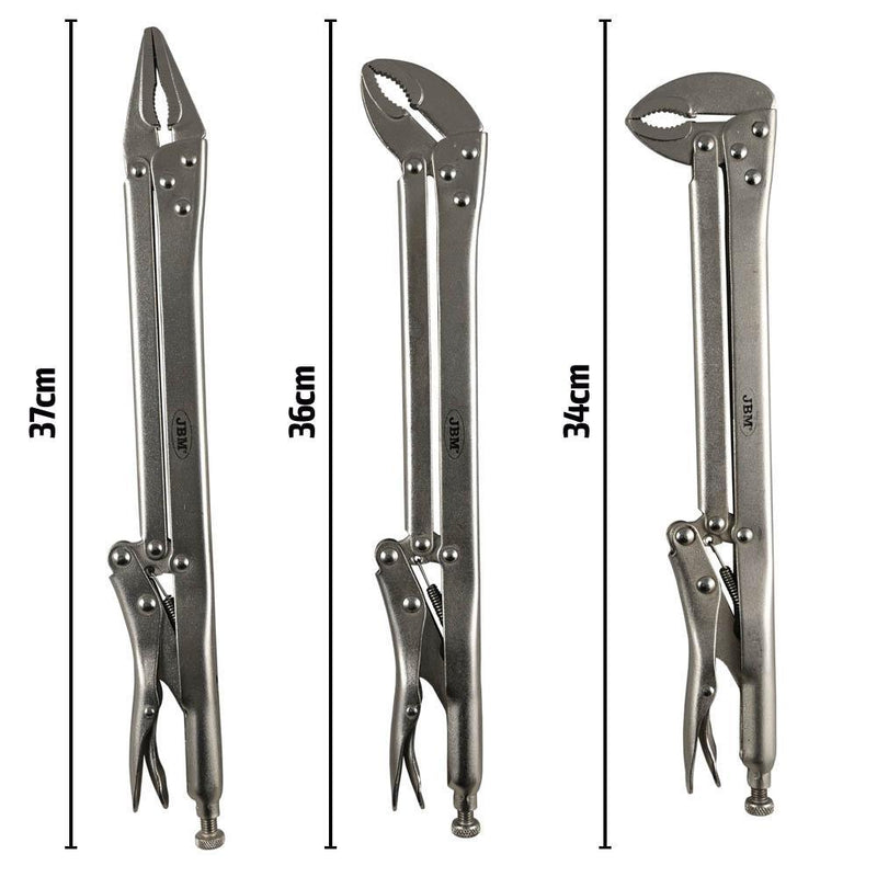 Long Reach Locking Plier 3pc Set Straight 45 90 Degree Vice Grips 34cm 36cm 37cm-Sweeney Motor Factors