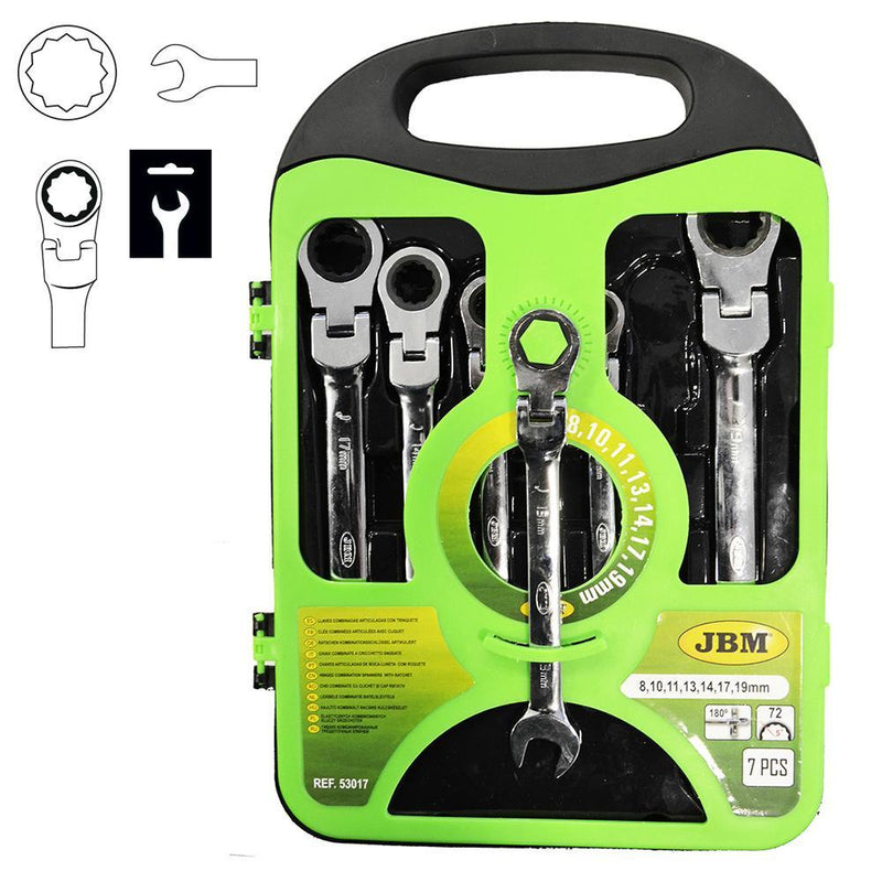 JBM-53017 7 Piece Flexible Combination Ratchet Wrench Set Additional View 1-Sweeney Motor Factors