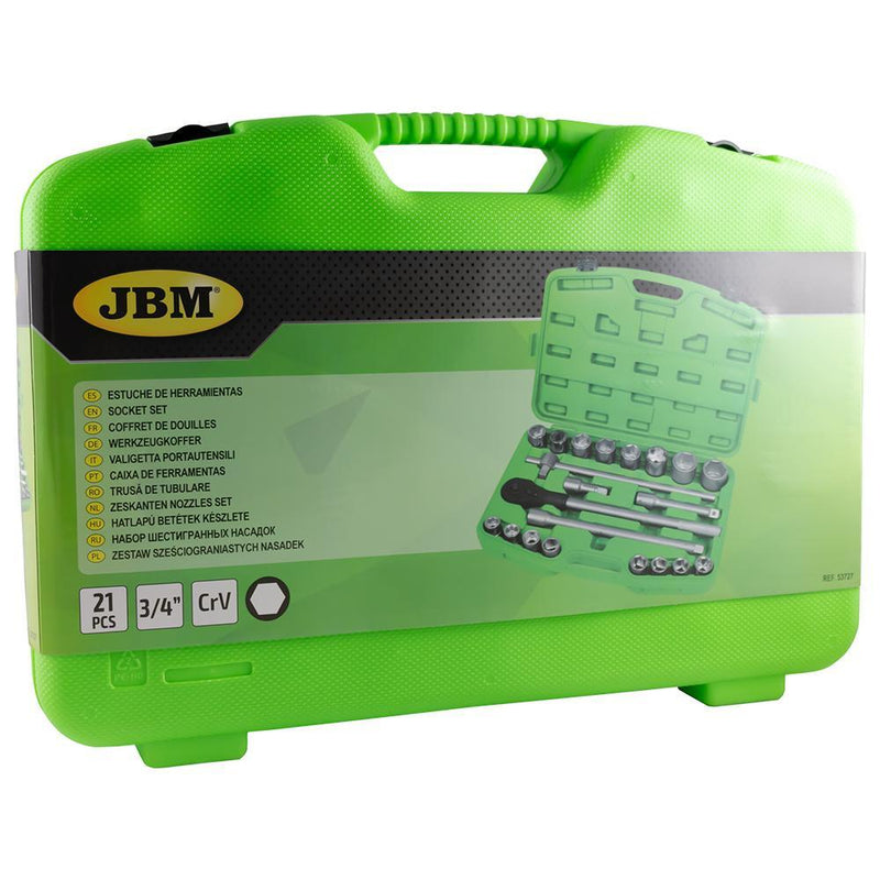 "JBM-53727 21 Piece Plastic Tool Case with 3/4"" Autocle 6-Point Sockets Additional View 2-Sweeney Motor Factors"