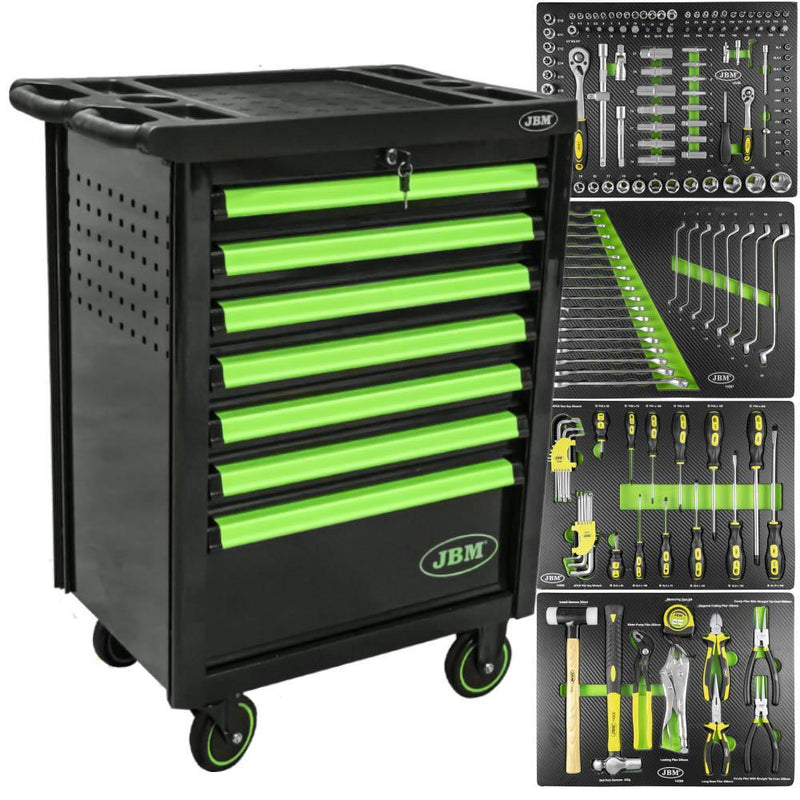 JBM-53763 7 Drawer Cabinet With Tools - Green
