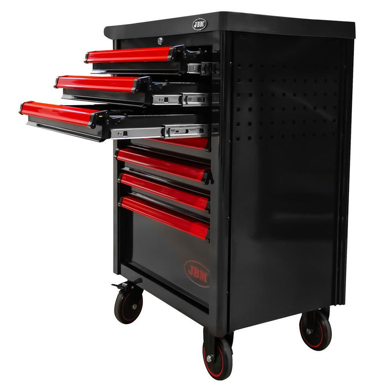JBM-53765 7 Drawer Cabinet With Tools - Red Additional Image 1