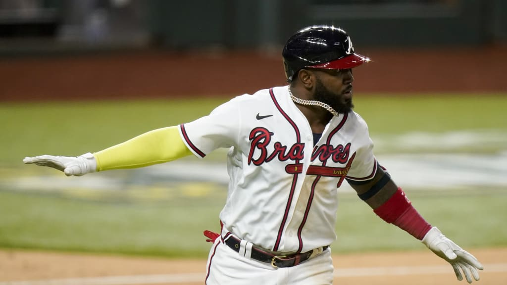 Marcell Ozuna wears a robust beard while playing for the Braves