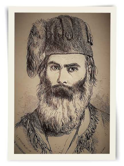 Drawing of a bearded Grizzly Adams