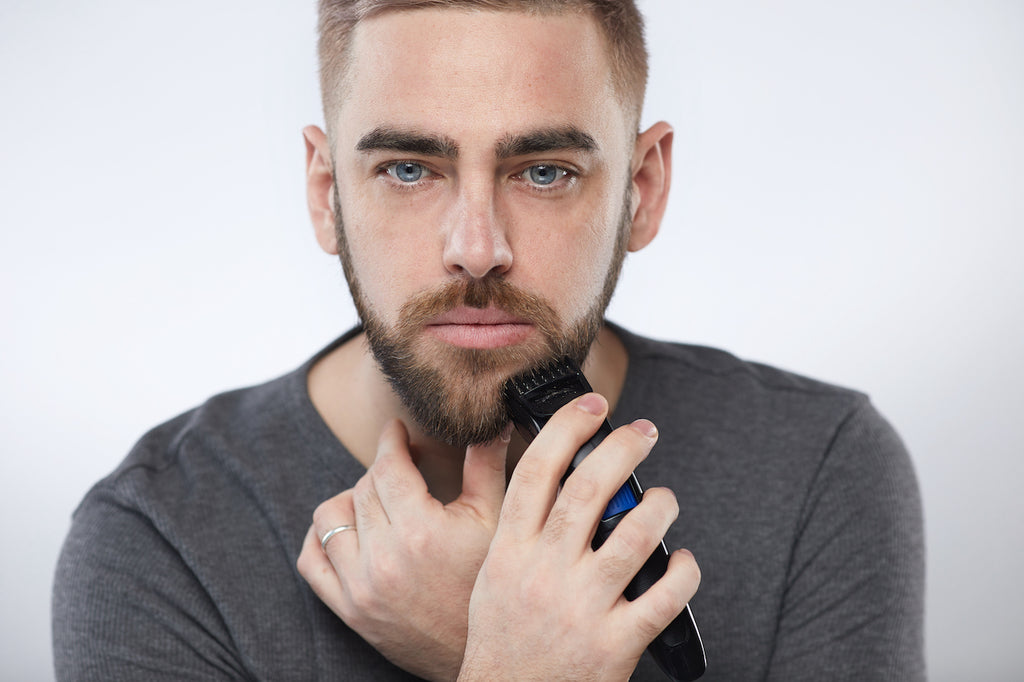 Image showing how to trim a beard with an electric trimmer